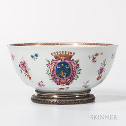 Small Silver-mounted Armorial Export Porcelain Bowl