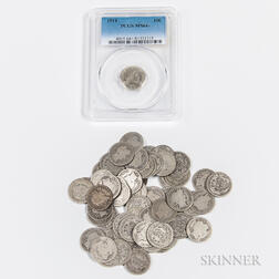 1914 Barber Dime, PGCS MS64+ and Fifty-nine Circulated Barber Dimes.     Estimate $200-250
