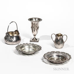 Four Pieces of Sterling Silver Tableware and a Silver-plated Vase