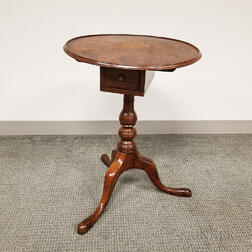 Queen Anne Walnut Dished Tilt-top One-drawer Candlestand
