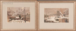 Two 19th Century French Winter Landscape Studies:    Paris Snowfall