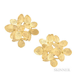 "18kt Gold ""Hydrangea"" Earrings, John Iversen"