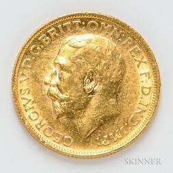 1913-S British Gold Sovereign, KM29.