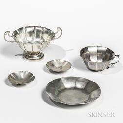 Three Pieces of Sterling Silver Tableware and a Silver-plated Cup and Saucer