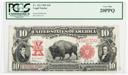 1901 $10 Legal Tender 'Bison' Note, Fr. 122, PCGS Currency Very Fine 20PPQ.     Estimate $500-700