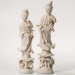 Two Blanc-de-Chine Figures of Guanyin