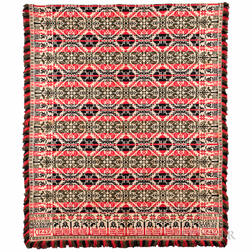 Red, Blue, and Green Woolen Jacquard Coverlet
