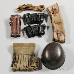German M-38 Paratrooper Helmet, Canvas Six-pocket MP 38/40 Pouch, and Other Gear