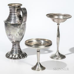 Dutch Silver Pitcher and Two Sterling Silver Weighted Compotes