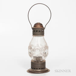 Pierced Tin and Glass Lantern