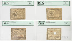 Three Continental Currency Notes and a Massachusetts Note
