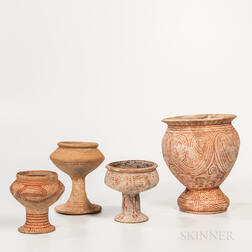Four Ban Chiang Red-painted Earthenware Vessels