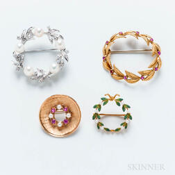 Four Gold Circle Brooches