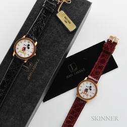 Two Jean Lassale 18kt Gold Mickey Mouse Watches