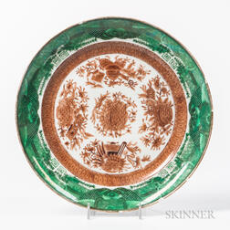 Green and Brown Fitzhugh Export Porcelain Plate