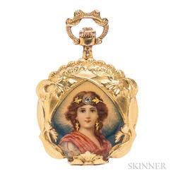Art Nouveau 14kt Gold and Enamel Pocket Watch