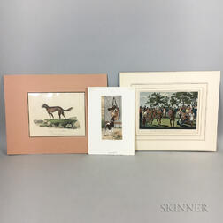 Three Small Unframed Hand-colored Engravings