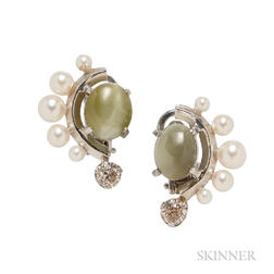 14kt White Gold, Cat's-eye Chrysoberyl, Cultured Pearl, and Diamond Earclips