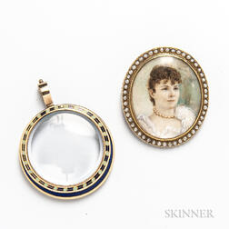 14kt Gold, Enamel, and Crystal Pendant and a 14kt Gold and Seed Pearl Portrait Brooch