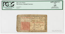 New Jersey March 25, 1776 3 Shilling Note, John Hart Signature, PCGS Currency Fine 15 Apparent.     Estimate $300-500