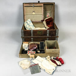 Large Group of Doll Clothing and Accessories in a Trunk.     Estimate $50-100
