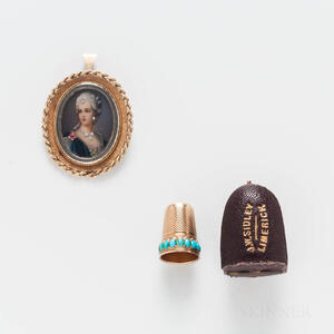 14kt Gold Thimble and 18kt Gold Portrait Cameo Pendant/Brooch