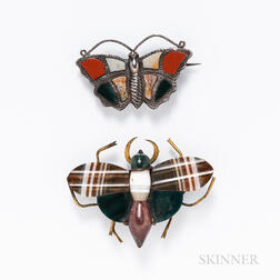 Two Scottish Agate Insect Brooches