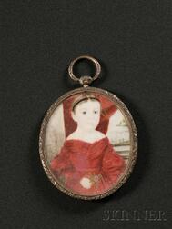 Portrait Miniature of a Girl in Red Holding a Flower,   Isaac Sheffield (Connecticut, 1798-1845), c. 1840