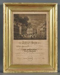 Framed Engraved City of Boston Fire Department Certificate of Service