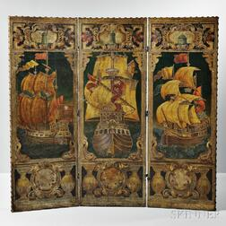 Embossed and Polychrome Painted Leather Folding Screen from Thomas W. Lawson's Dreamwold   Estate, Scituate, Massachusetts