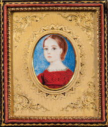 American School, Early 19th Century      Miniature Portrait of a Girl in a Red Dress