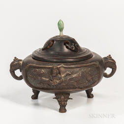 Bronze Tripod Handled Censer and Wood Cover