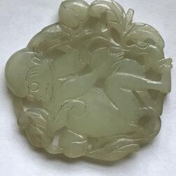 Jade Lotus and a Chalcedony Plaque