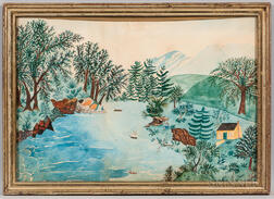 American School, Early 20th Century      Lake Scene with Cabin