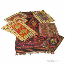 Six Flatweave Rugs and a Turkish Yastik.     Estimate $200-250