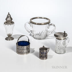 Five Pieces of Sterling Silver-mounted Glass Tableware