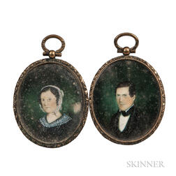 American School, 19th Century      Pair of Miniature Portraits of a Husband and Wife of the Dow Family of Winchester, Massachusetts