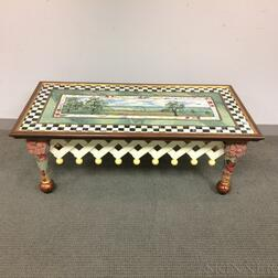 MacKenzie-Childs Paint-decorated Wood and Ceramic Coffee Table