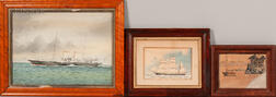 American School, 19th/20th Century    Three Framed Maritime Works on Paper: British Steamship