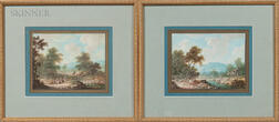 Continental School, 18th Century      Two Scenes of Wayfarers: River Crossing