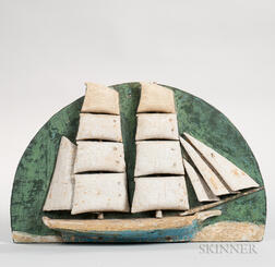 Carved and Painted Demilune Ship Diorama