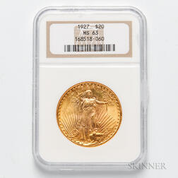 1927 $20 St. Gaudens Double Eagle Gold Coin, NGC MS63.