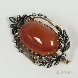 Antique Carnelian and Seed Pearl Brooch