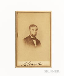 Lincoln, Abraham (1809-1865) Signed Carte-de-visite.