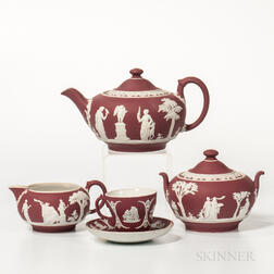 Four-piece Wedgwood Crimson Jasper Dip Tea Set