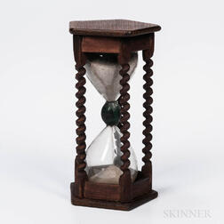 Carved Oak Six-minute Sand Glass