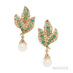 Gold, Emerald, Diamond, and Cultured Pearl Earrings