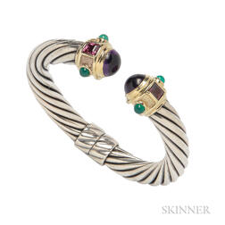 Sterling Silver, 14kt Gold, and Gem-set Bracelet, David Yurman