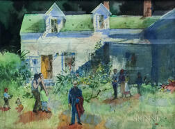 Steven Trefonides (American, b. 1926)      The Artist and His Family at their Homestead