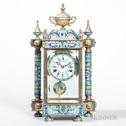 French-style Champleve, Brass, and Glass Mantel Clock